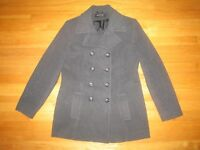 Womens Gray JONES NEW YORK Wool Blend Double Breasted Lined Peacoat - Size 10