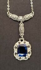 Antique Art Deco sterling silver filigree necklace