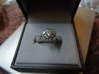 LARGE sterling silver ring size M CZ 925