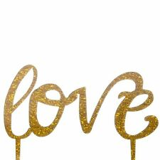 Gold Glitter Love Cake Topper x1 Baking Pick Decoration