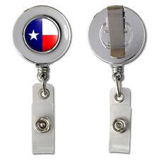 Texas Flag Retractable Reel Chrome Badge ID Card Holder
