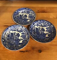Blue Willow 2 temples pattern/Butterfly border small bowls set of 3