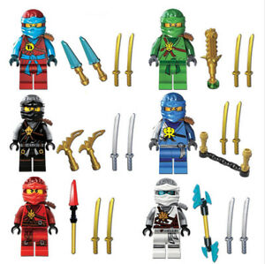 6pcs Ninjago Toy Boys Ninja Mini Figures Kai,Cole,Lloyd,Nya,Jay & Zane Fit Lego
