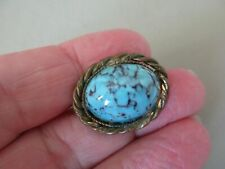 Lace Shawl Pin Brooch Gold Ptd Antique Vintage Edwardian Turquoise Matrix Glass