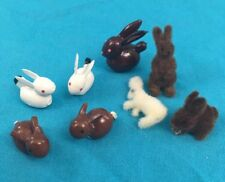 Miniature Dollhouse Bunnies 2 White 3 Brown Smooth Bunnies & One Of Each Fuzzy