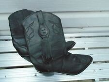 New Vintage '90's Oak Tree Farms Black Leather Western Cowboy Boots Women's 9
