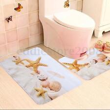 2 Pieces Beach Shells Starfish Non-Slip Carpet Bath Toilet Bathroom Rug Mats Set