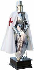 Medieval Wearable Knight Crusader Full Suit Of Armor With White Costume
