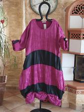 TURBULENCE Exklusives Crash Kleid Kunstleder Baumwolle Feincord magenta pink EG