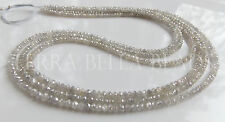 """1"""" natural genuine DIAMOND faceted gem stone rondelle beads 2mm white grey"""
