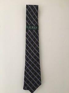 Lauren Ralph Lauren Men's Windowpane Check Silk Viscose Tie Grey One Size