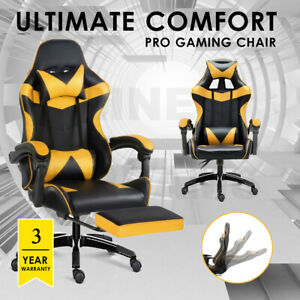 Gaming Chair Office Seating Racing PU Leather Executive Racer Footrest Gold