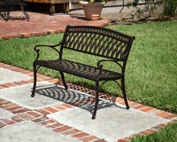 Patio Sense Simone Cast Aluminum Outdoor Bench Bronze Finish Garden Furniture