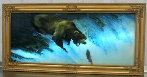 Vintage Motion Waterfall Picture Lights & Sound 39x19x4 Waterfall Bear Salmon
