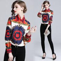 2019 Spring Summer Fall Baroque Print Collar OL Womens Casual Top Shirts Blouses
