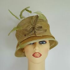 Ladies Formal Hat Wedding Races Mother Bride Muted Lime Green By Headways Lined