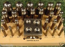 24 pc DAPPING PUNCH SET with BLOCK upto 1 inch ball new All Steel Construction