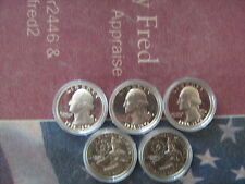 (5)1776-1976-s PROOF WASHINGTON SILVER QUARTERS  (5) COINs IN CAPSULEs #aa1