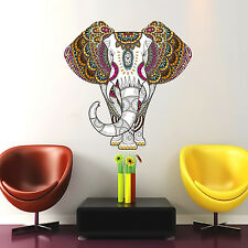 Indian Elephant Wall Decal Full Color Sticker Colored Design Bedroom Decor DD127
