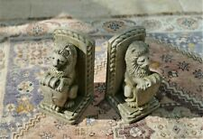 More details for heavy stone composite lion bookends - approx. 7.5kg total