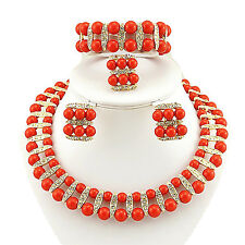 Red 2 layers African Beads Necklace Earring bracelet ring Jewellery Set