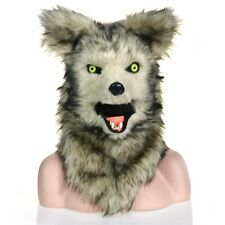 Gray Wolf Mascot Costume Can Move Mouth Head Suit Halloween Outfit Cosplay Adult
