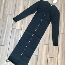 Zara Black Ribbed Knit Dress Decorative Faux Pearl Buttons Size S