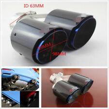 63-89mm Glossy Real Carbon Fiber+Chrome Blue Car SUV Refit Dual Exhaust Pipe Tip