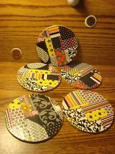 """#5 ART Deco DUCKTAPE design & Natural Cork Drink Coasters Placemats 3.5"""" in"""