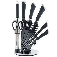 Stainless Steel Knife Set 7 Piece Kitchen Knives Block Black Non Stick Blades