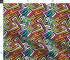 Graffiti Maze Rainbow 80S Neon Fabric Printed by Spoonflower BTY