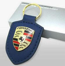Porsche Leather Keyring Key Ring Fob Genuine Metal Badge NAVY w/ Box