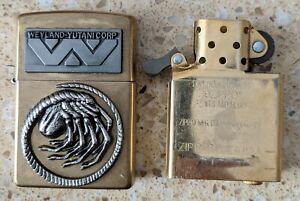 Original Zippo Brass Lighter - Customised for Aliens Movie - used