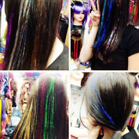"""100 Strands 39""""/100cm Holographic Sparkle Hair Tinsel Glitter Extensions DIY"""