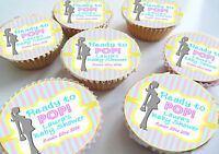 Baby Shower Personalised Ready to Pop! Edible Cupcake Toppers
