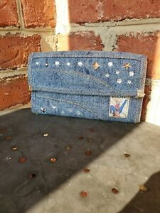 Vintage Bonjour Denim Rhinestone Stud Cowgirl Wallet 1980s Unique EUC!