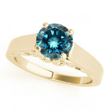 1 Carat Round Blue Diamond Solitaire Engagement Ring Best Price 14k YG ASAAR