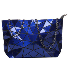 Women Geometric Shoulder Bag Handbag Purse Messenger Tote Satchel Bags - Blue