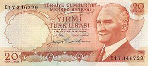 Turkey  20  Lira  ND. 1974  Series  C  Circulated Banknote WKsat