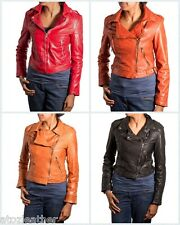 Ladies Leather Vintage Retro Stud Fastening Biker Jacket in Red/Orange/Tan/Black