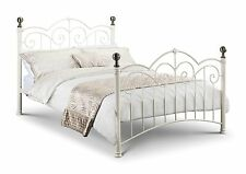 Isabel Bed Stone white Cream Finish with Brass Plated Finials DOUBLE or KINGSIZE