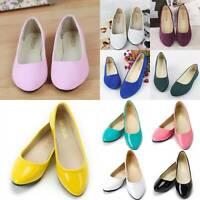 Womens Ballerina Ballet Pumps Flat Heel Ladies Slip On Shoes Wedding Party Size