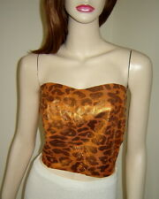 Gorgeous Metallic Gold Leopard Print Strapless Leather Bustier Corset w/ Tie (M)