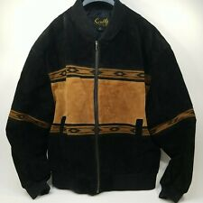 Vintage Scully Men's Western Leather Jacket size Large. Black and Brown Style #2