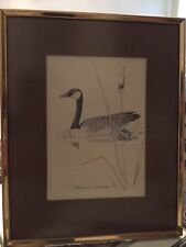 Vintage Duck on Water Drawing Signed Bill Neal 1975