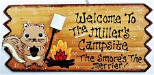 SQUIRREL CAMPSITE Personalize SIGN Plaque Camping Camp Camper Trailer Wood Decor