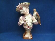 BROS URBACH MAJOLICA BUST OF A 18th CENTURY STYLE GALLANT HOLDING HIS FALCON