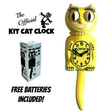 "Majestic Yellow Lady Kit Cat Clock 15.5"" Gratis Batería Eeuu Hecho Kit-Cat Klock"