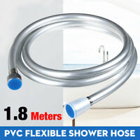 1.8M PVC Smooth Silver Flexible Shower Hose Bathroom Plated Brass Pipe Connector