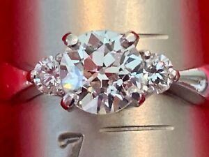 Platinum Diamond Ring Solitaire European Cut Diamond Estate Vintage Engagement